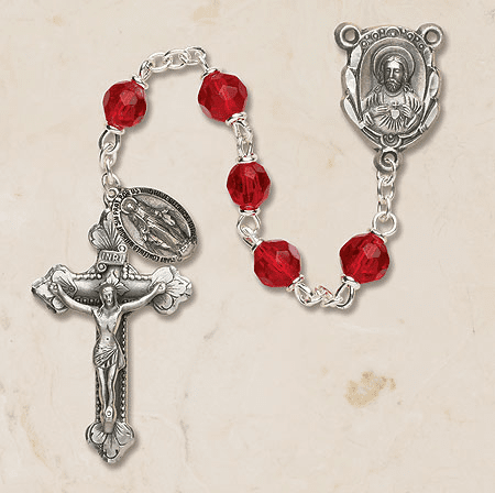 Ruby Sacred Heart Prague Rosary with Miraculous Dangle by Creed
