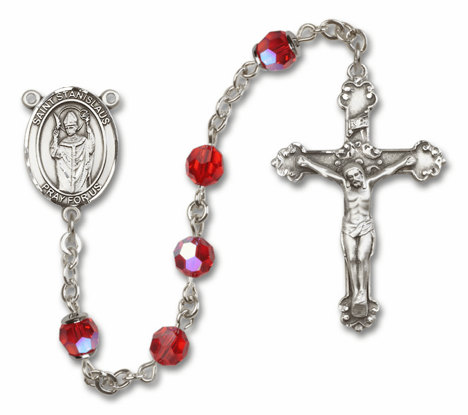 Ruby Swarovski Patron Saint Sterling Silver Rosary by Bliss