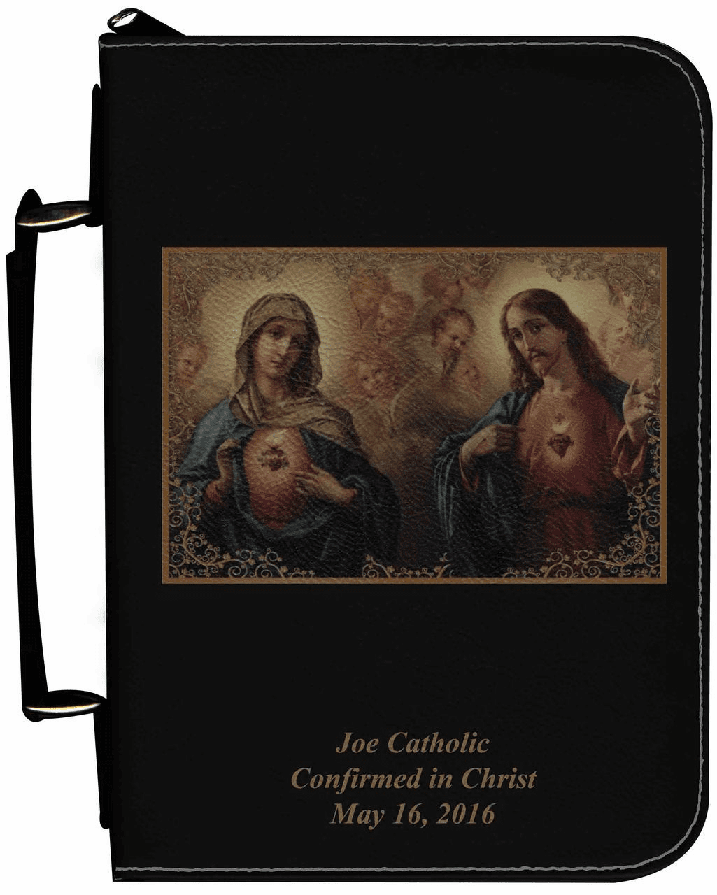Sacred and Immaculate Hearts Personalized Black Catholic Bible Cover Case