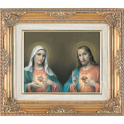 Sacred Heart and Immaculate Heart under Glass w/Gold Framed Picture by Cromo