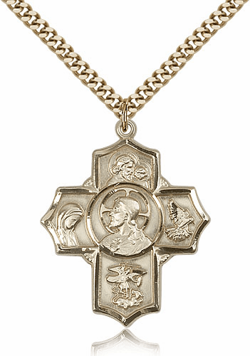 Sacred Heart Five-Way Cross 14kt Gold-filled  Necklace by Bliss