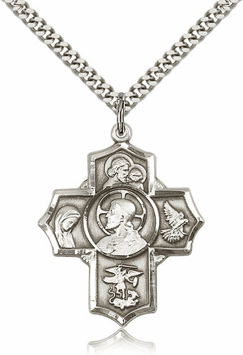 Sacred Heart Five-Way Cross Sterling Silver Necklace by Bliss