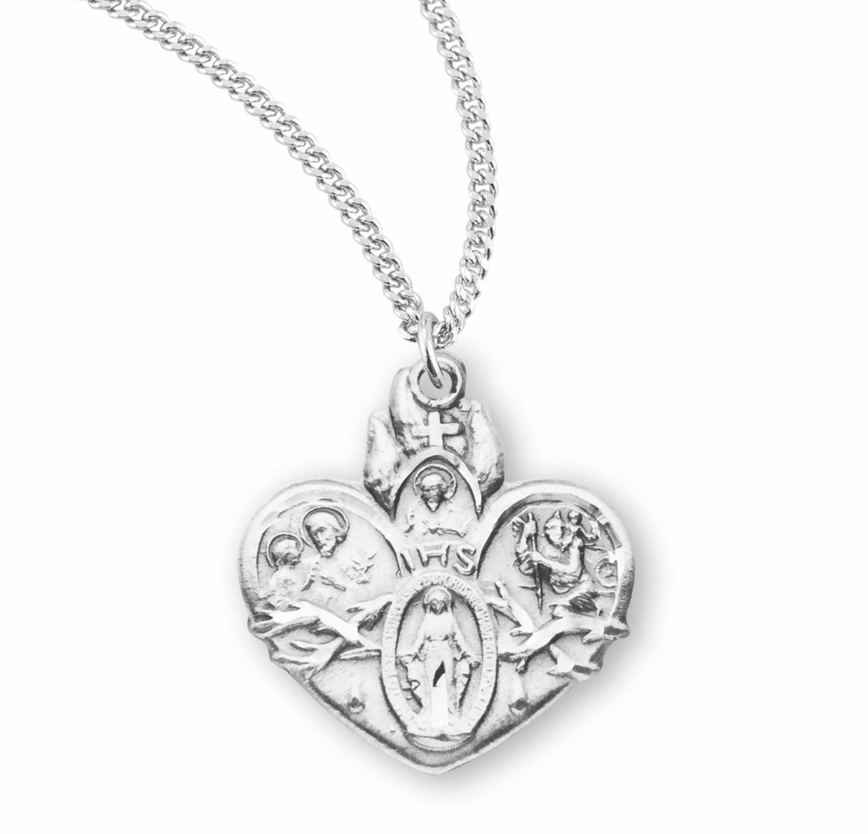 Sacred Heart of Jesus 4-Way Sterling Medal Necklace by HMH Religious