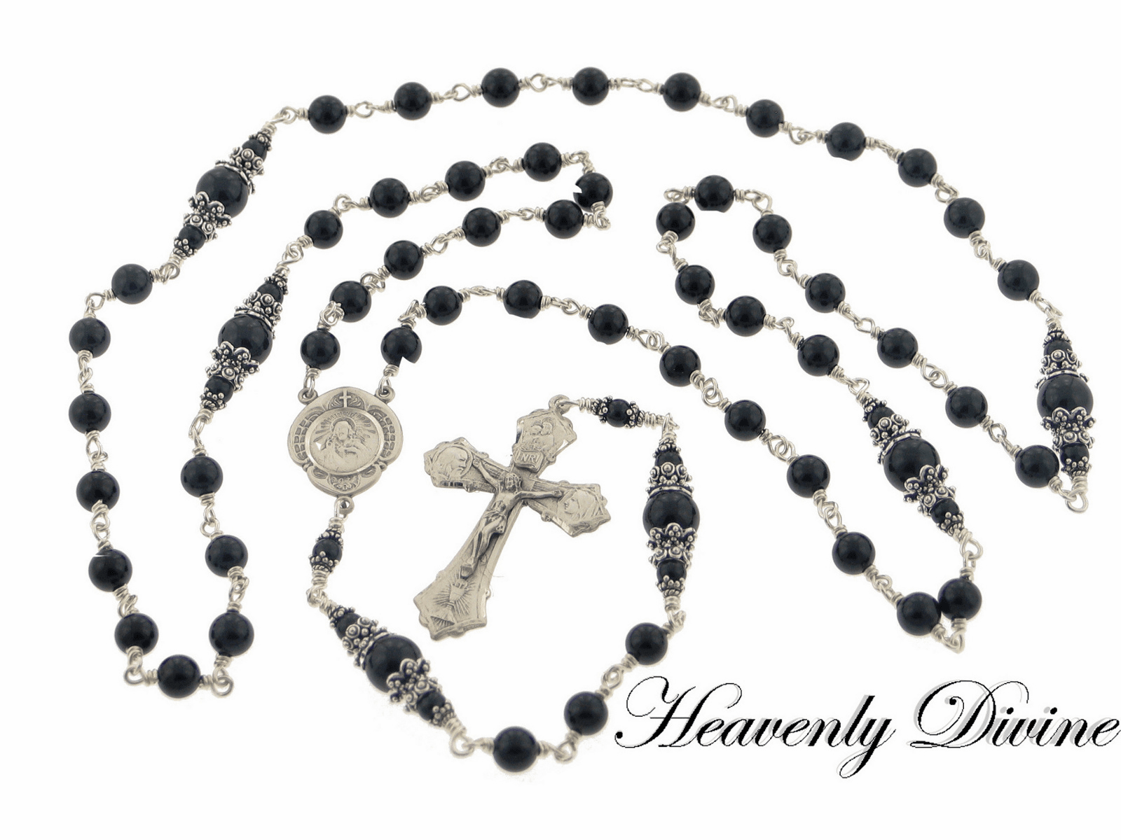Sacred Heart of Jesus Black Onyx Sterling Silver Rosary by Heavenly Divine