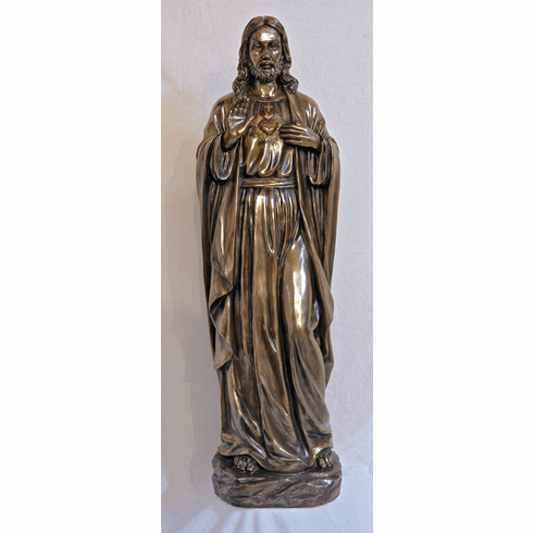 Sacred Heart of Jesus Bronze Cold Cast Sculpture Statue