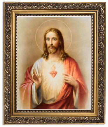 Sacred Heart of Jesus Framed Print Picture with Gold Frame by Gerffert