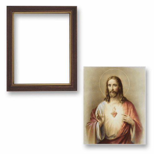 Sacred Heart of Jesus Framed Print Picture with Woodtone Frame by Gerffert
