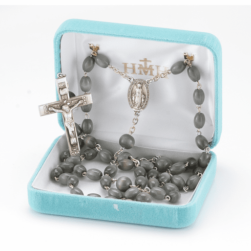 Sacred Heart of Jesus Oval Grey Ceramic Rosary by HMH Religious