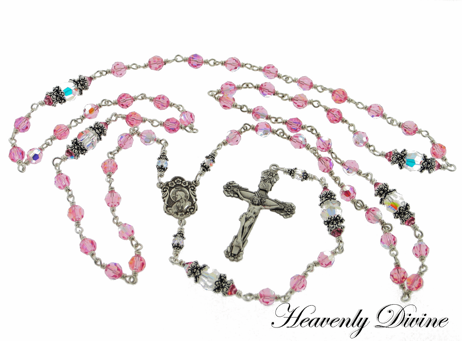 Sacred Heart of Jesus Rose Swarovski Crystal Sterling Silver Rosary by Heavenly Divine