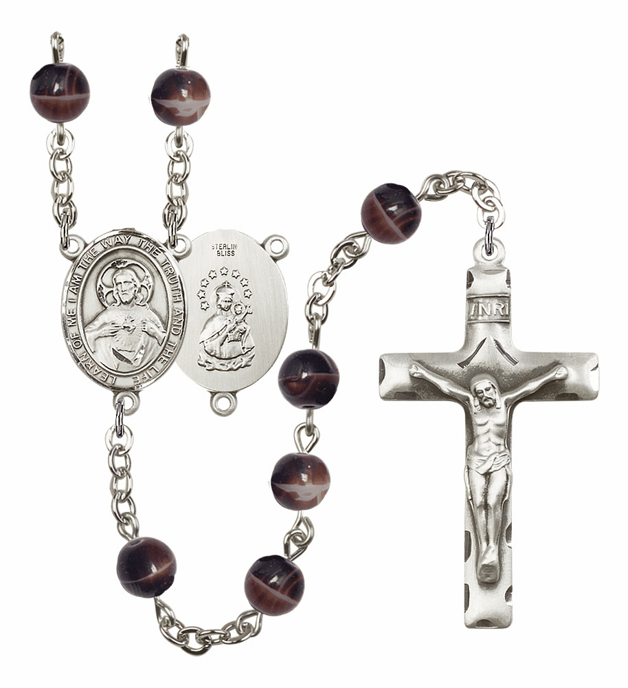 Sacred Heart of Jesus Scapular 7mm Brown Gemstone Rosary by Bliss