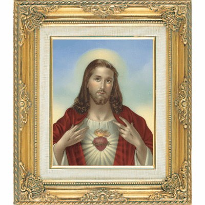 Sacred Heart of Jesus under Glass w/Gold Framed Picture by Cromo N B Milan Italy