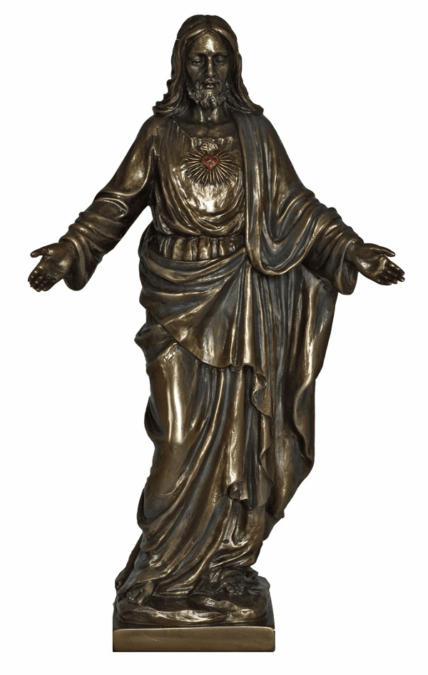 Sacred Heart of Jesus with Open Arms Cold Cast Bronze Statue by Veronese