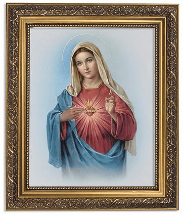Sacred Heart of Mary Framed Print Picture with Gold Frame by Gerffert