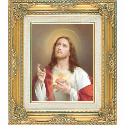 Sacred Heart under Glass w/Gold Framed Picture by Cromo N B Milan Italy