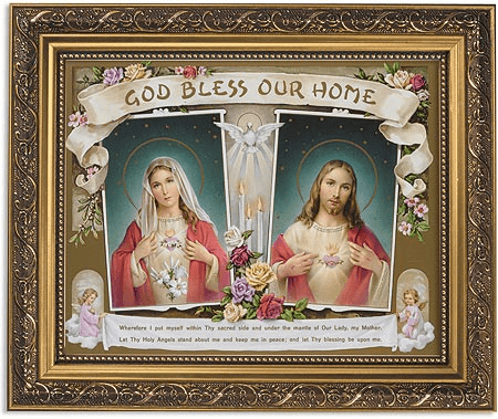 Sacred Hearts God Bless Our Home Framed Print Picture with Gold Frame by Gerffert