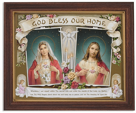 Sacred Hearts God Bless Our Home Framed Print Picture with Woodtone Frame by Gerffert