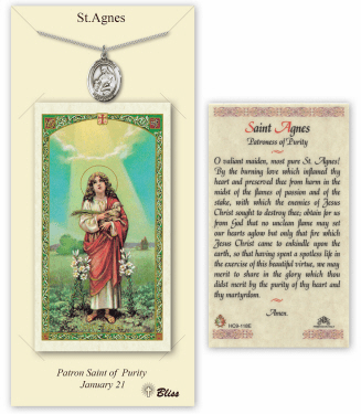 Saint Agnes of Rome Pendant and Holy Prayer Card Gift Set by Bliss