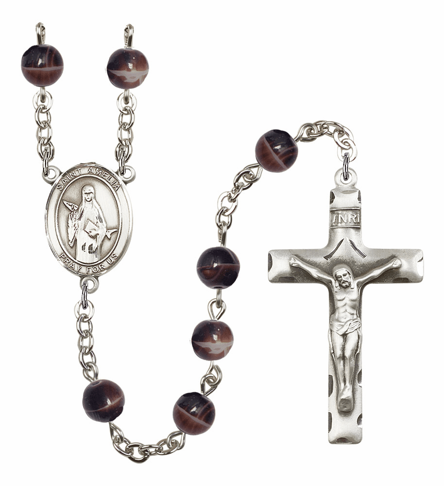 Saint Amelia Silver Plate 7mm Brown Gemstone Prayer Rosary by Bliss
