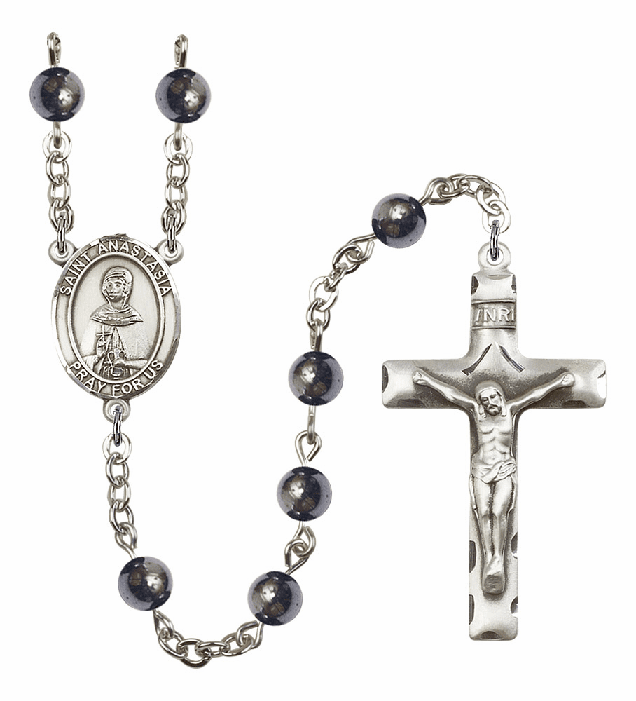 Saint Anastasia Silver Plate 6mm Hematite Gemstone Prayer Rosary by Bliss