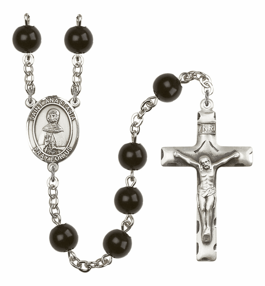 Bliss Mfg Saint Anastasia Silver 7mm Black Onyx Rosary