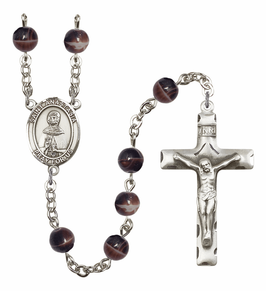 Saint Anastasia Silver Plate 7mm Brown Gemstone Prayer Rosary by Bliss