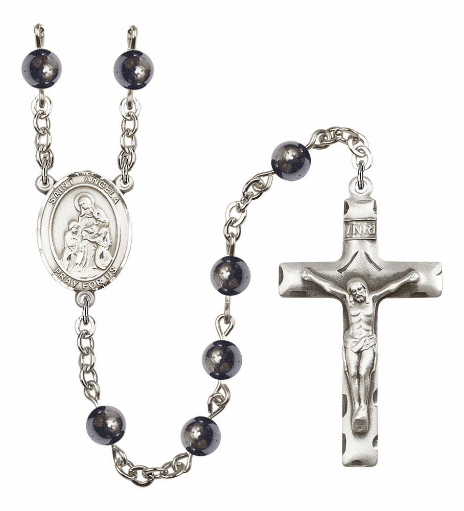 Saint Angela Merici Silver Plate 6mm Hematite Gemstone Prayer Rosary by Bliss