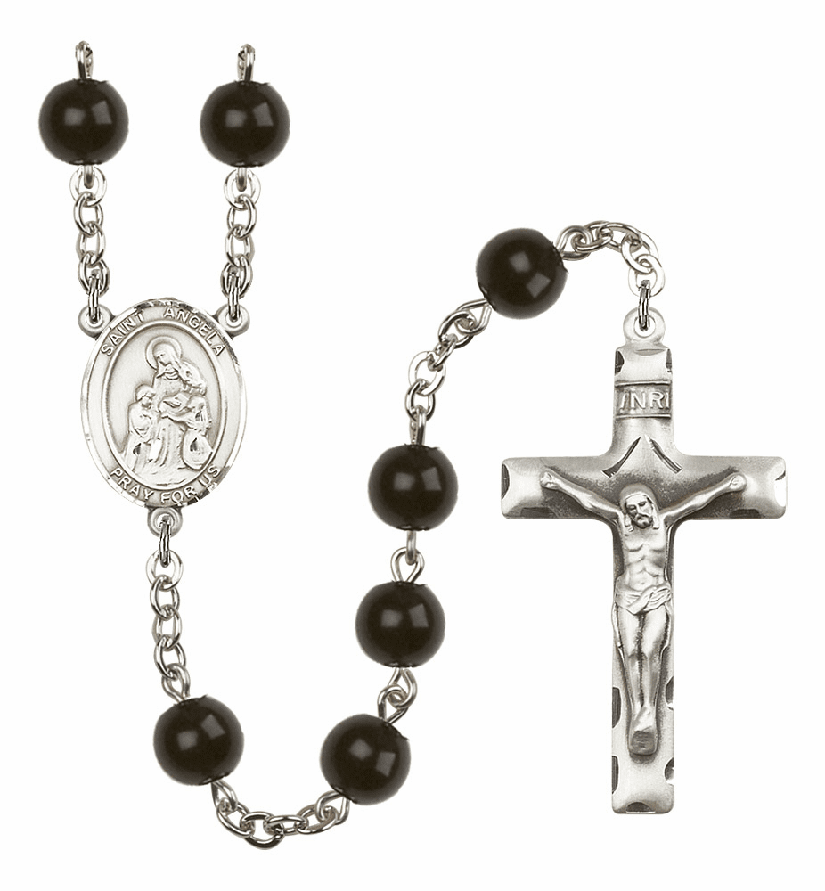 Bliss Mfg Saint Angela Merici Silver 7mm Black Onyx Rosary
