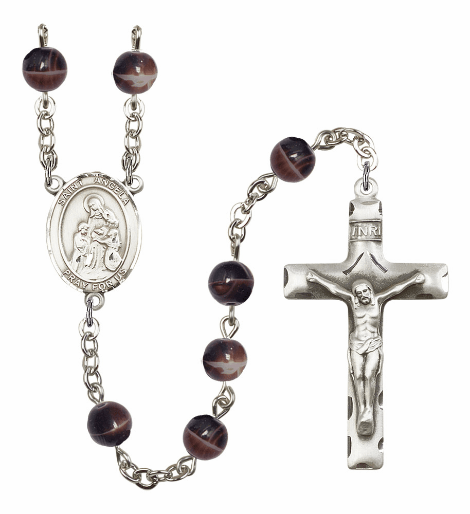 Saint Angela Merici Silver Plate 7mm Brown Gemstone Prayer Rosary by Bliss