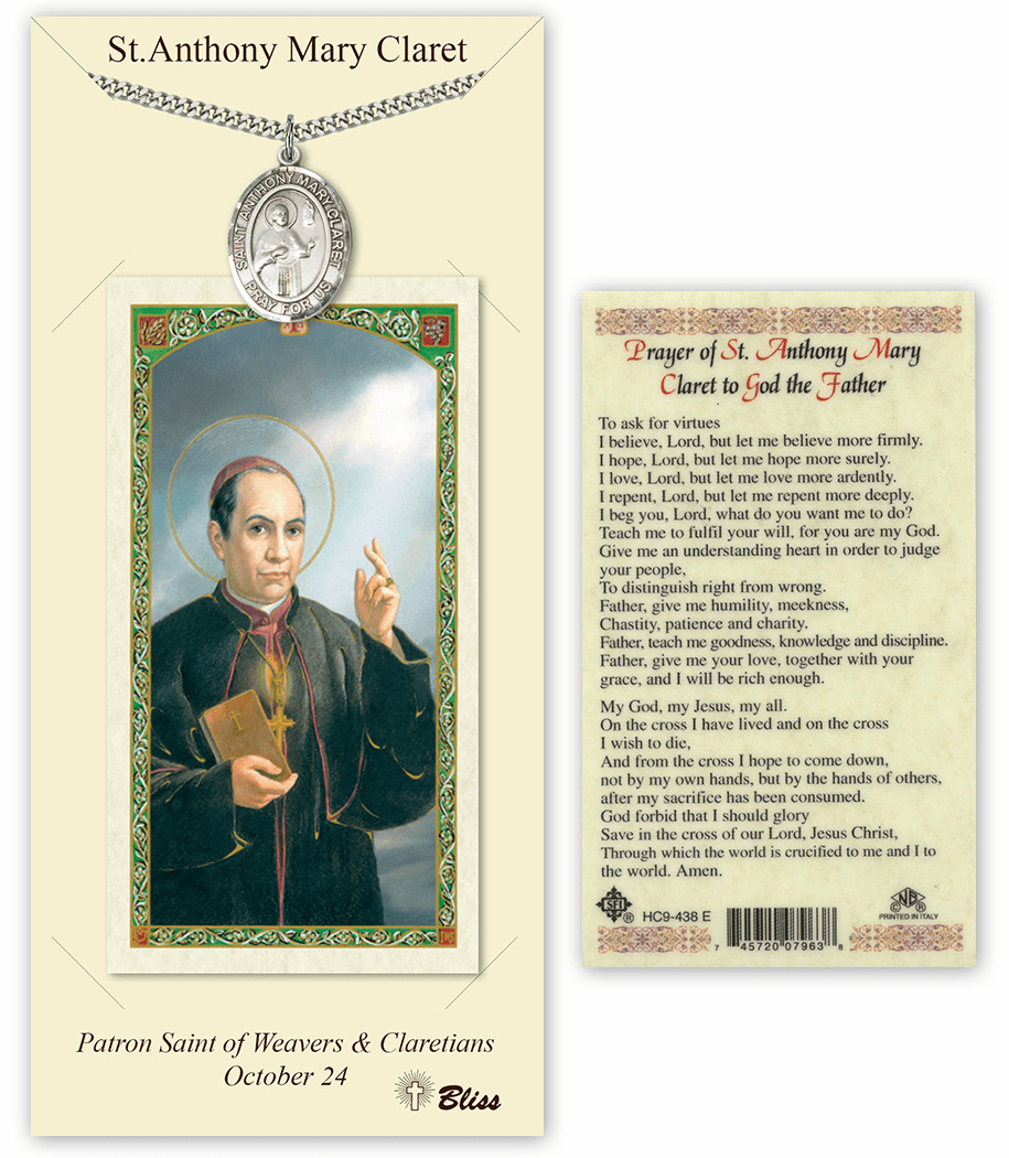 St Anthony Mary Claret Pendant and Holy Prayer Card Gift Set by Bliss