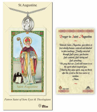 Bliss Mfg  Saint Augustine of Hippo Pendant and Holy Prayer Card Gift Set