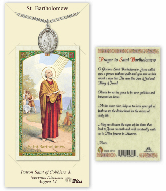 Bliss Mfg Saint Bartholomew the Apostle Pendant and Holy Prayer Card Gift Set