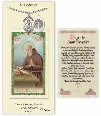 Saint Benedict Pendant and Holy Prayer Card Gift Set by Bliss