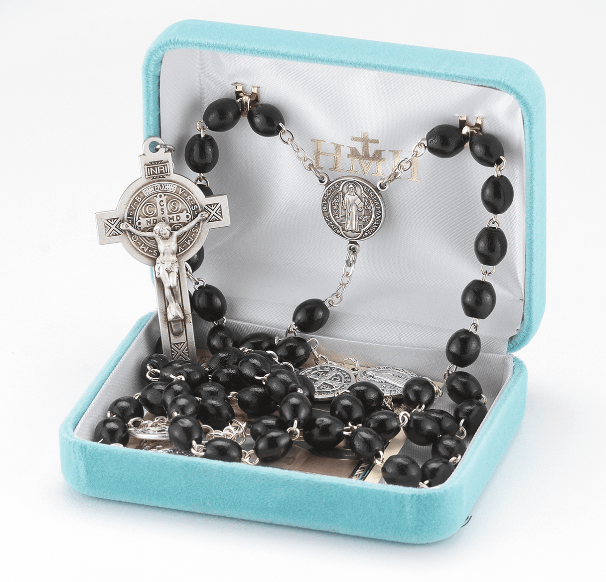 Saint Benedict Sterling Silver Boxwood Rosary by HMH Religious