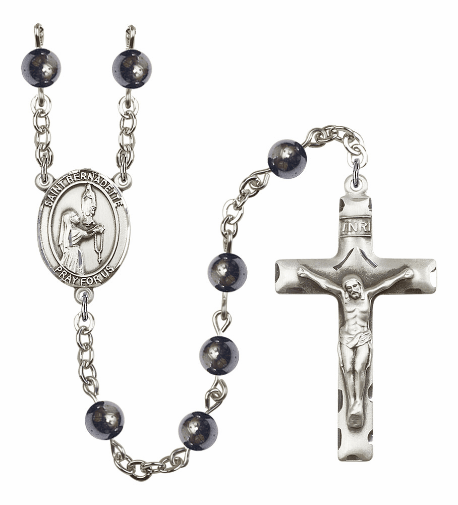 Saint Bernadette Silver Plate 6mm Hematite Gemstone Prayer Rosary by Bliss