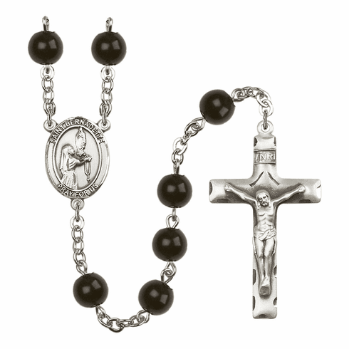 Saint Bernadette Silver Plate 7mm Black Onyx  Prayer Rosary by Bliss