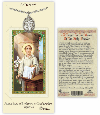Saint Bernard of Clairvaux Pendant and Holy Prayer Card Gift Set by Bliss