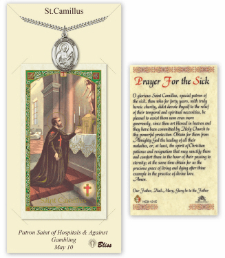 Saint Camillus of Lellis Pendant and Holy Prayer Card Gift Set by Bliss