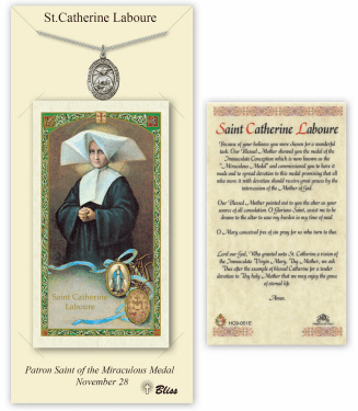 Saint Catherine Laboure Pendant and Holy Prayer Card Gift Set by Bliss