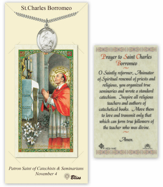 Saint Charles Borromeo Pendant and Holy Prayer Card Gift Set by Bliss