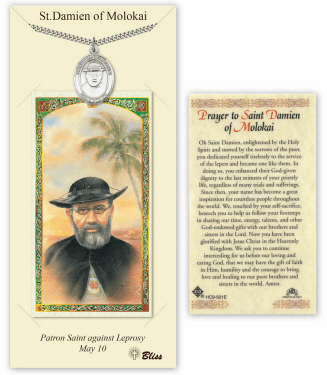Saint Damien of Molokai Pendant and Holy Prayer Card Gift Set by Bliss
