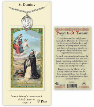 Saint Dominic de Guzman Pendant and Holy Prayer Card Gift Set by Bliss