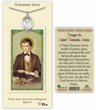 Saint Dominic Savio Pendant and Holy Prayer Card Gift Set by Bliss