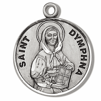 Saint Dymphna Sterling Silver Medal Necklace by HMH Religious