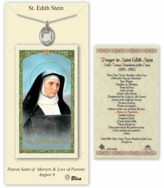 Saint Edith Stein Pendant and Holy Prayer Card Gift Set by Bliss