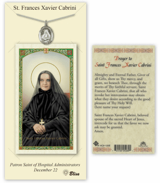 Saint Frances Cabrini Pendant and Holy Prayer Card Gift Set by Bliss