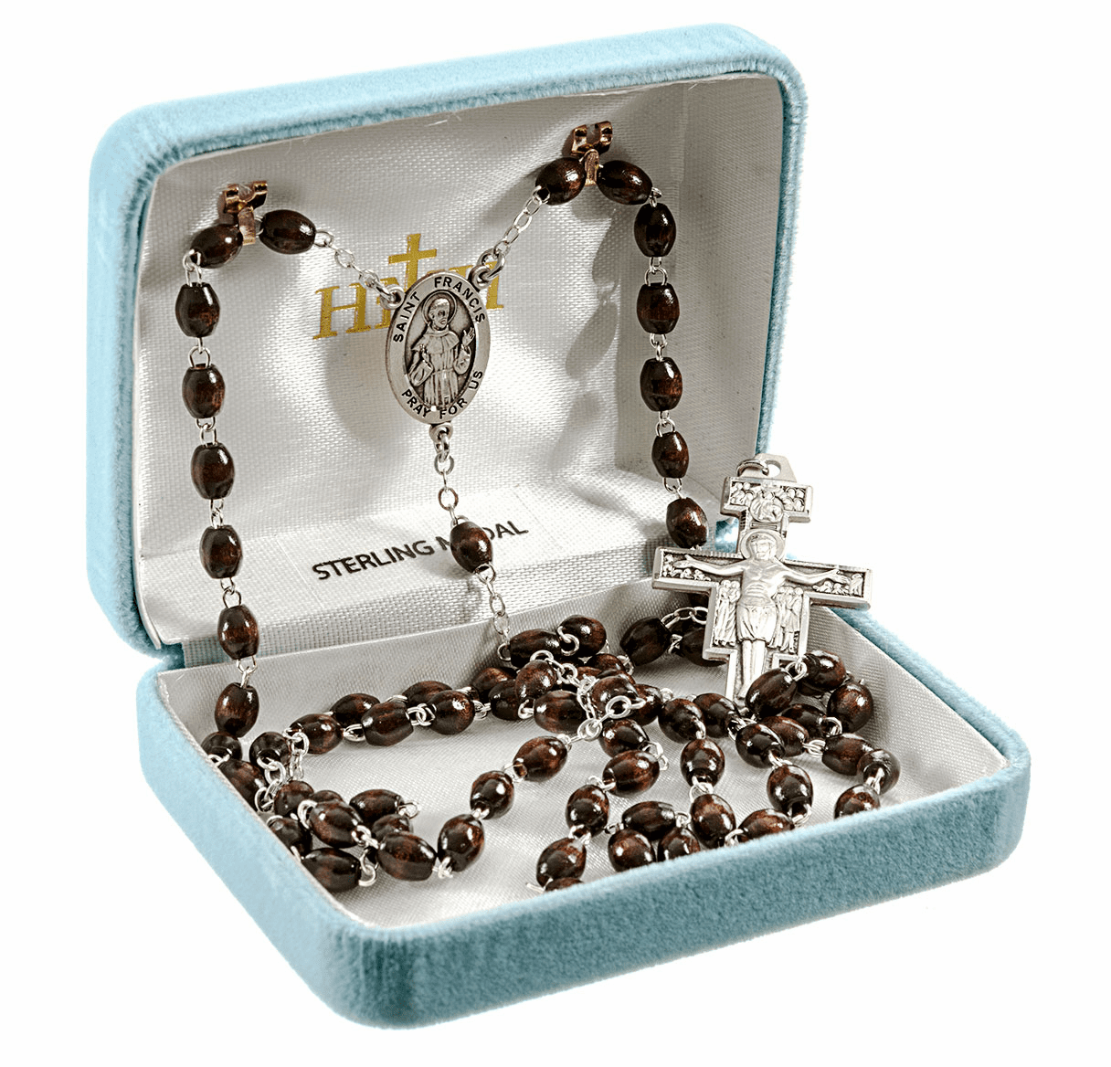 Saint Francis Franciscan 7 Decade Sterling Rosary by HMH Religious
