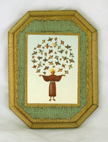 Saint Francis with a Circle of Birds Print Wood Plaque