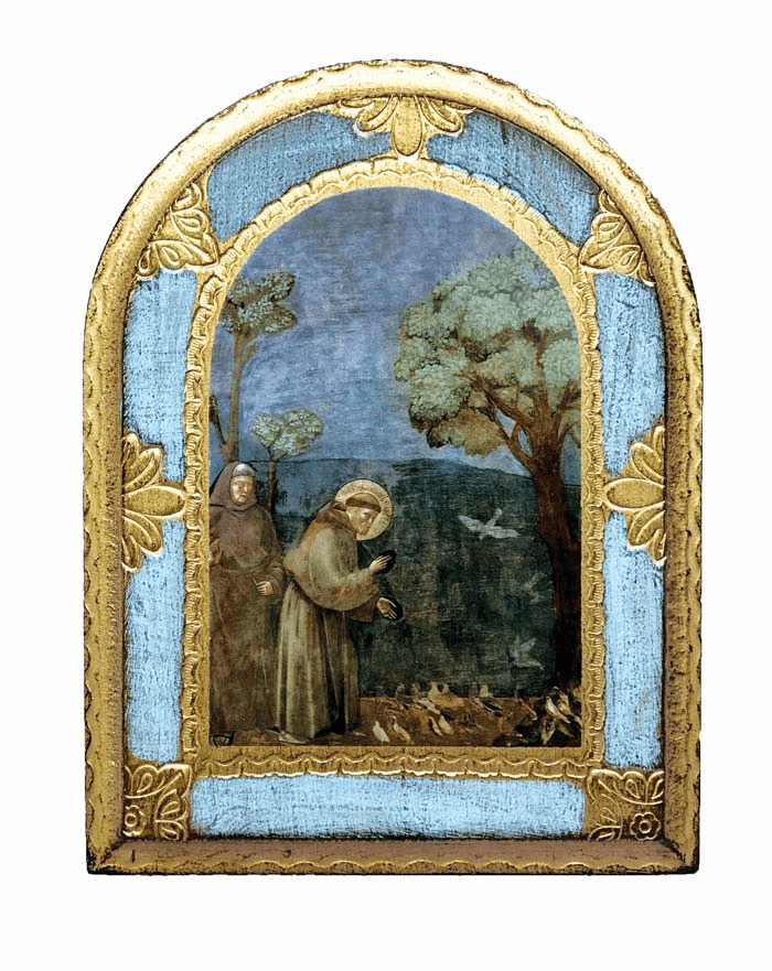 Saint Francis with Birds Print Wood Plaque by Giotto