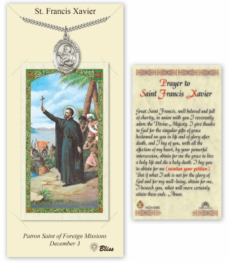 Saint Francis Xavier Pendant and Holy Prayer Card Gift Set by Bliss