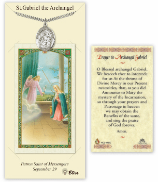 Saint Gabriel the Archangel Pendant and Holy Prayer Card Gift Set by Bliss